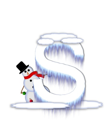 typographiy: The letter S, in the alphabet set Frosty, is a white icy letter covered in snow drifts.  A snowman decorates letter and is holding colorful Christmas ornaments.
