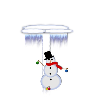 typographiy: The letter T, in the alphabet set Frosty, is a white icy letter covered in snow drifts.  A snowman decorates letter and is holding colorful Christmas ornaments. Stock Photo