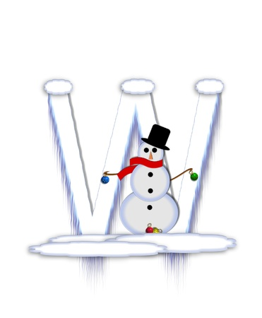 drifts: The letter W, in the alphabet set Frosty, is a white icy letter covered in snow drifts.  A snowman decorates letter and is holding colorful Christmas ornaments. Stock Photo