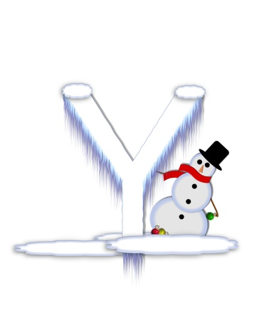 drifts: The letter Y, in the alphabet set Frosty, is a white icy letter covered in snow drifts.  A snowman decorates letter and is holding colorful Christmas ornaments. Stock Photo