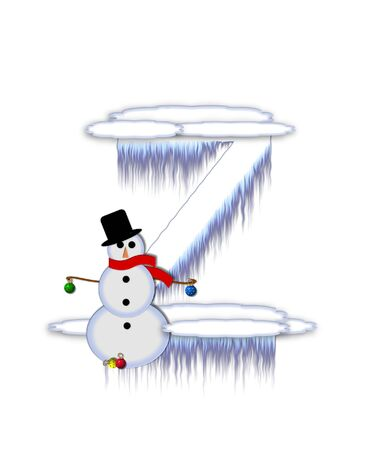 typographiy: The letter Z, in the alphabet set Frosty, is a white icy letter covered in snow drifts.  A snowman decorates letter and is holding colorful Christmas ornaments. Stock Photo