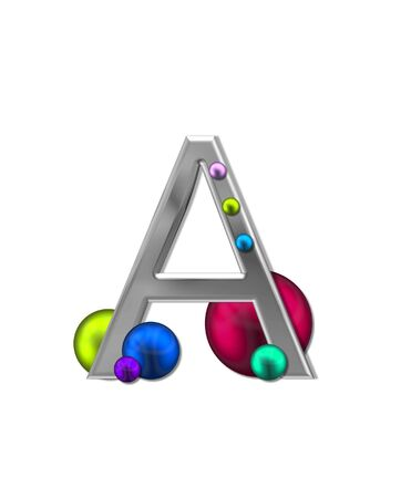 metalic: The letter A, in the alphabet set Metal Marbles, is silver with a metalic sheen.  Large and small marbles in various colors decorate letter. Stock Photo