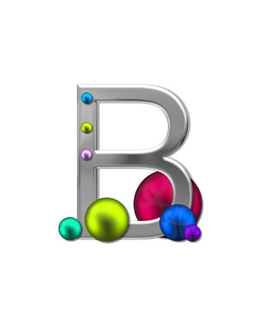 typographiy: The letter B, in the alphabet set Metal Marbles, is silver with a metalic sheen.  Large and small marbles in various colors decorate letter.