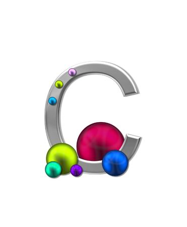 letter c: The letter C, in the alphabet set Metal Marbles, is silver with a metalic sheen.  Large and small marbles in various colors decorate letter.