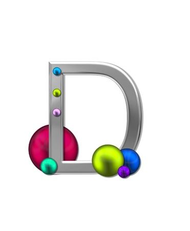 metalic: The letter D, in the alphabet set Metal Marbles, is silver with a metalic sheen.  Large and small marbles in various colors decorate letter.