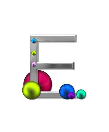 metalic: The letter E, in the alphabet set Metal Marbles, is silver with a metalic sheen.  Large and small marbles in various colors decorate letter.