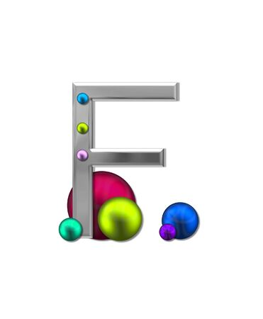 aluminum: The letter F, in the alphabet set Metal Marbles, is silver with a metalic sheen.  Large and small marbles in various colors decorate letter.