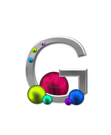 sheen: The letter G, in the alphabet set Metal Marbles, is silver with a metalic sheen.  Large and small marbles in various colors decorate letter. Stock Photo