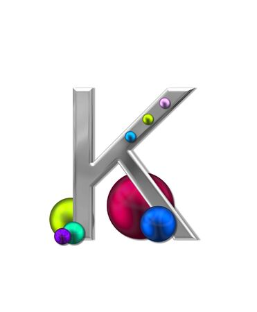 The letter K, in the alphabet set Metal Marbles, is silver with a metalic sheen.  Large and small marbles in various colors decorate letter.