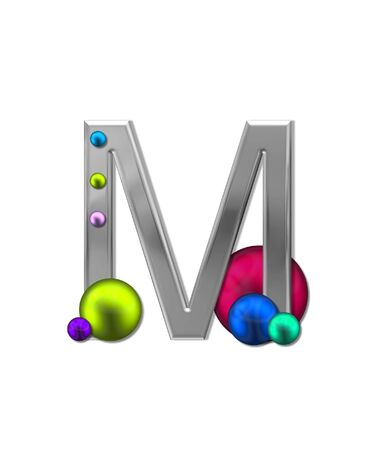 sheen: The letter M, in the alphabet set Metal Marbles, is silver with a metalic sheen.  Large and small marbles in various colors decorate letter. Stock Photo