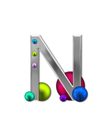 metalic: The letter N, in the alphabet set Metal Marbles, is silver with a metalic sheen.  Large and small marbles in various colors decorate letter.