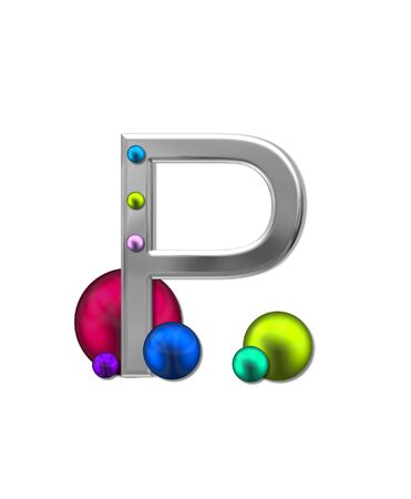 metalic: The letter P, in the alphabet set Metal Marbles, is silver with a metalic sheen.  Large and small marbles in various colors decorate letter.