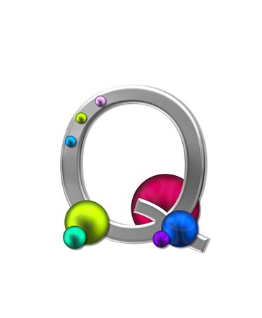 metalic: The letter Q, in the alphabet set Metal Marbles, is silver with a metalic sheen.  Large and small marbles in various colors decorate letter. Stock Photo