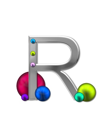 sheen: The letter R, in the alphabet set Metal Marbles, is silver with a metalic sheen.  Large and small marbles in various colors decorate letter.
