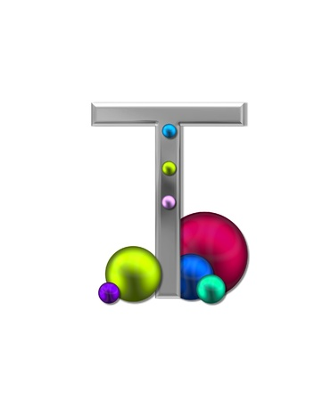 metalic: The letter T, in the alphabet set Metal Marbles, is silver with a metalic sheen.  Large and small marbles in various colors decorate letter.