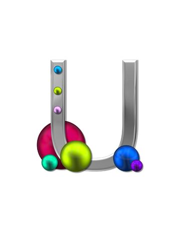 typographiy: The letter U, in the alphabet set Metal Marbles, is silver with a metalic sheen.  Large and small marbles in various colors decorate letter.