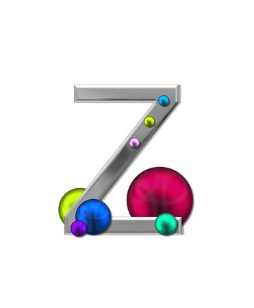 typographiy: The letter Z, in the alphabet set Metal Marbles, is silver with a metalic sheen.  Large and small marbles in various colors decorate letter.
