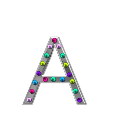 typographiy: The letter A, in the alphabet set metal marquee, is silver with colorful lightbulbs in multi-colors.