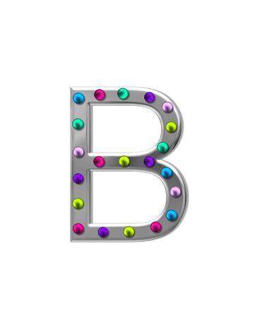 aluminum: The letter B, in the alphabet set metal marquee, is silver with colorful lightbulbs in multi-colors.