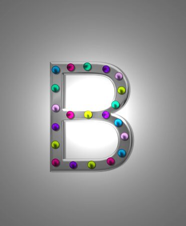 The letter B, in the alphabet set Metal Marquee, is grey metal illuminated by multi-colored light bulbs.  Background is grey with glowing white light.
