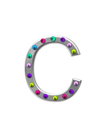typographiy: The letter C, in the alphabet set metal marquee, is silver with colorful lightbulbs in multi-colors. Stock Photo