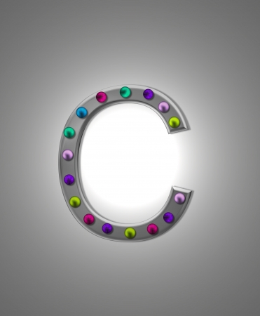 typographiy: The letter C, in the alphabet set Metal Marquee, is grey metal illuminated by multi-colored light bulbs.  Background is grey with glowing white light.