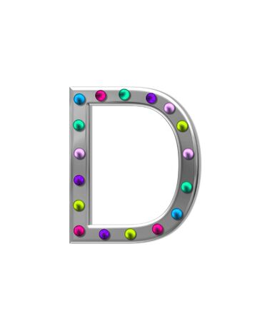 typographiy: The letter D, in the alphabet set metal marquee, is silver with colorful lightbulbs in multi-colors. Stock Photo