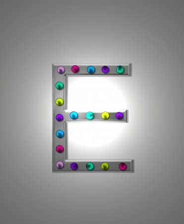 typographiy: The letter E, in the alphabet set Metal Marquee, is grey metal illuminated by multi-colored light bulbs.  Background is grey with glowing white light. Stock Photo