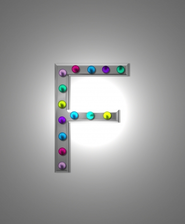 aluminum: The letter F, in the alphabet set Metal Marquee, is grey metal illuminated by multi-colored light bulbs.  Background is grey with glowing white light.