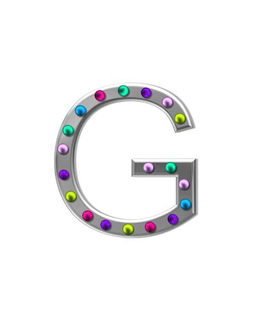 typographiy: The letter G, in the alphabet set metal marquee, is silver with colorful lightbulbs in multi-colors. Stock Photo