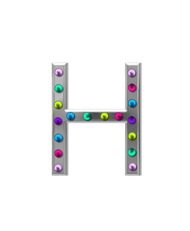 aluminum: The letter H, in the alphabet set metal marquee, is silver with colorful lightbulbs in multi-colors.