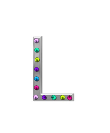typographiy: The letter L, in the alphabet set metal marquee, is silver with colorful lightbulbs in multi-colors. Stock Photo