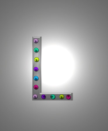 typographiy: The letter L, in the alphabet set Metal Marquee, is grey metal illuminated by multi-colored light bulbs.  Background is grey with glowing white light.