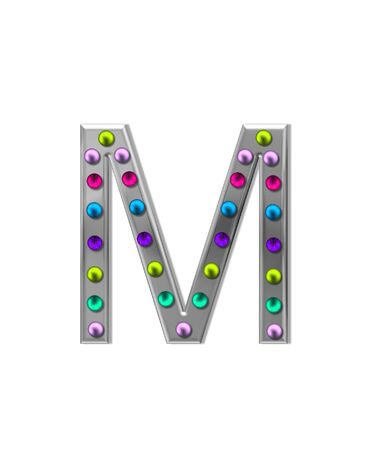 metalic: The letter M, in the alphabet set metal marquee, is silver with colorful lightbulbs in multi-colors.