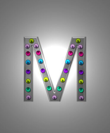 aluminum: The letter M, in the alphabet set Metal Marquee, is grey metal illuminated by multi-colored light bulbs.  Background is grey with glowing white light. Stock Photo