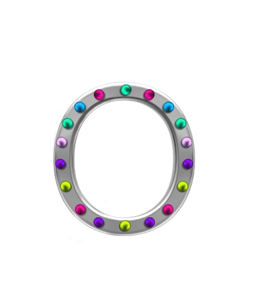 typographiy: The letter O, in the alphabet set metal marquee, is silver with colorful lightbulbs in multi-colors.