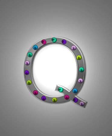 metalic: The letter Q, in the alphabet set Metal Marquee, is grey metal illuminated by multi-colored light bulbs.  Background is grey with glowing white light. Stock Photo