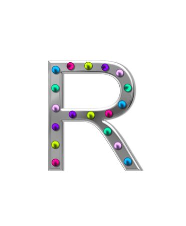 typographiy: The letter R, in the alphabet set metal marquee, is silver with colorful lightbulbs in multi-colors. Stock Photo
