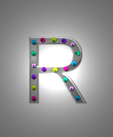 typographiy: The letter R, in the alphabet set Metal Marquee, is grey metal illuminated by multi-colored light bulbs.  Background is grey with glowing white light. Stock Photo