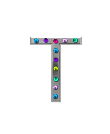 typographiy: The letter T, in the alphabet set metal marquee, is silver with colorful lightbulbs in multi-colors.
