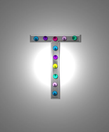 aluminum: The letter T, in the alphabet set Metal Marquee, is grey metal illuminated by multi-colored light bulbs.  Background is grey with glowing white light.