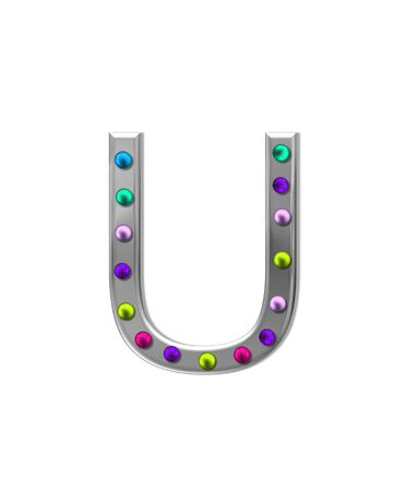 aluminum: The letter U, in the alphabet set metal marquee, is silver with colorful lightbulbs in multi-colors.