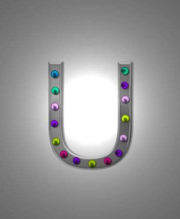typographiy: The letter U, in the alphabet set Metal Marquee, is grey metal illuminated by multi-colored light bulbs.  Background is grey with glowing white light. Stock Photo