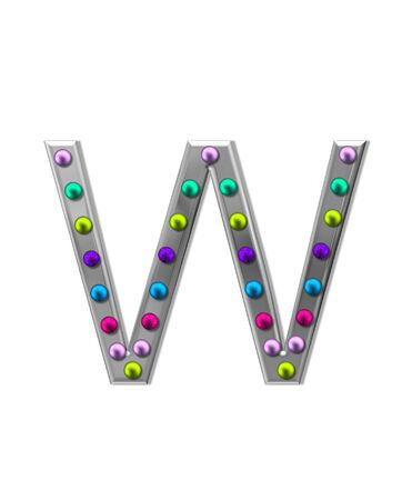 metalic: The letter W, in the alphabet set metal marquee, is silver with colorful lightbulbs in multi-colors. Stock Photo