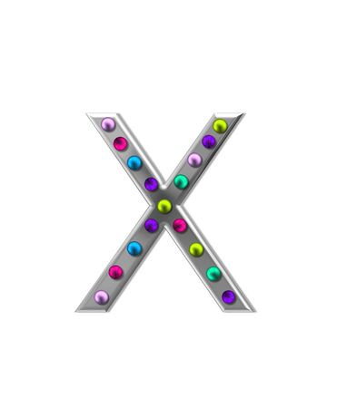 typographiy: The letter X, in the alphabet set metal marquee, is silver with colorful lightbulbs in multi-colors.