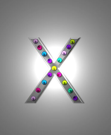 typographiy: The letter X, in the alphabet set Metal Marquee, is grey metal illuminated by multi-colored light bulbs.  Background is grey with glowing white light.