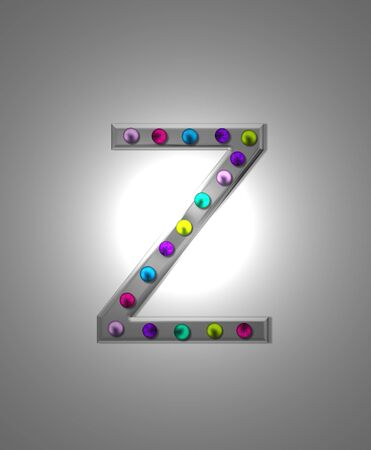 typographiy: The letter Z, in the alphabet set Metal Marquee, is grey metal illuminated by multi-colored light bulbs.  Background is grey with glowing white light. Stock Photo