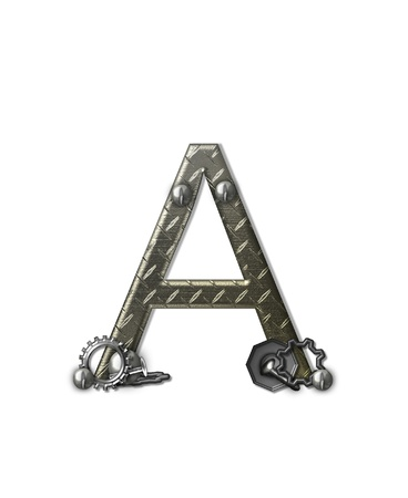 steel: The letter A, in the alphabet set  Metal Shop , is a chrome colored letter with etched texture   Letter is decorated with nuts, bolts and screws   Top of letter has rivets