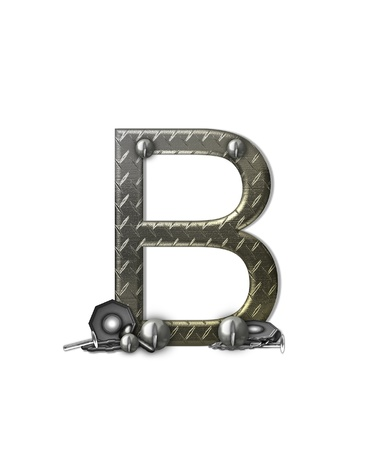 typographiy: The letter B, in the alphabet set Metal Shop, is a chrome colored letter with etched texture.  Letter is decorated with nuts, bolts and screws.  Top of letter has rivets.
