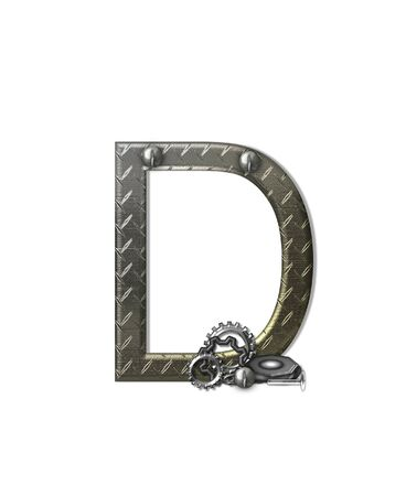 typographiy: The letter D, in the alphabet set Metal Shop, is a chrome colored letter with etched texture.  Letter is decorated with nuts, bolts and screws.  Top of letter has rivets.